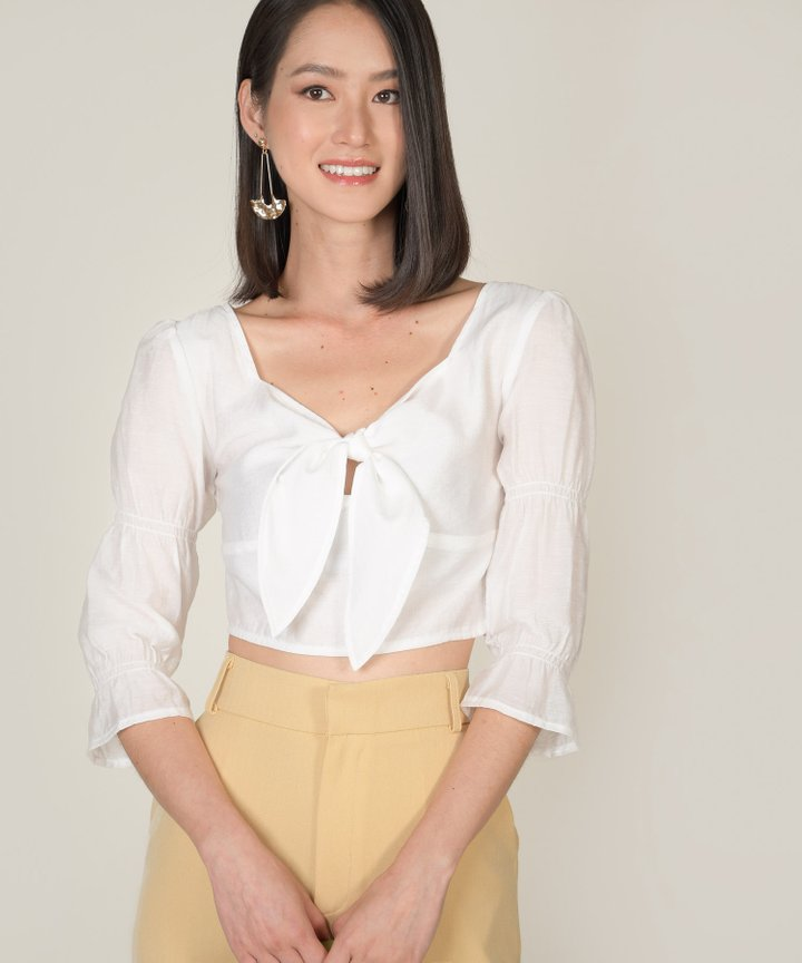Maris Tie-Front Cropped Blouse - White