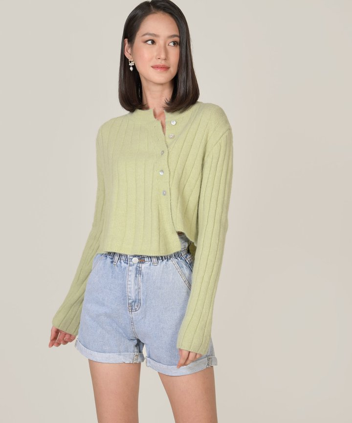 Paulin Asymmetric Knit Sweater - Green Tea