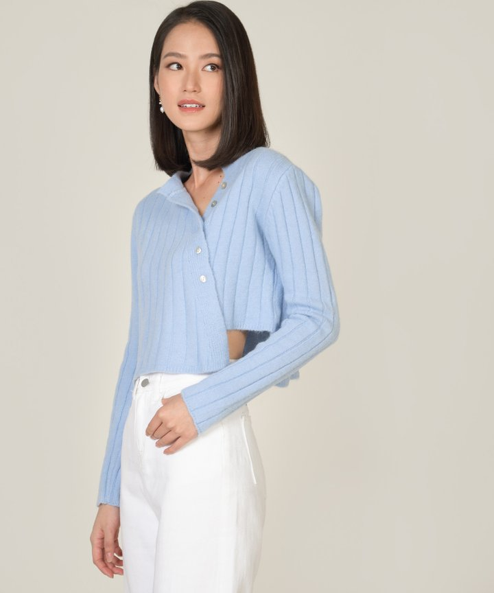 Paulin Asymmetric Knit Sweater - Powder Blue