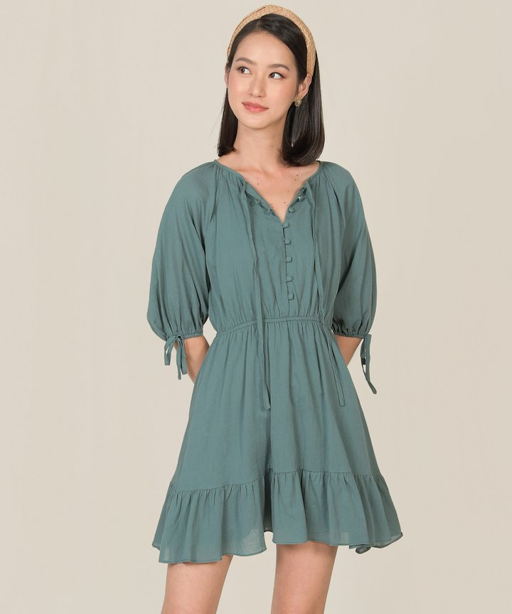 Rosso Button Down Dress - Teal