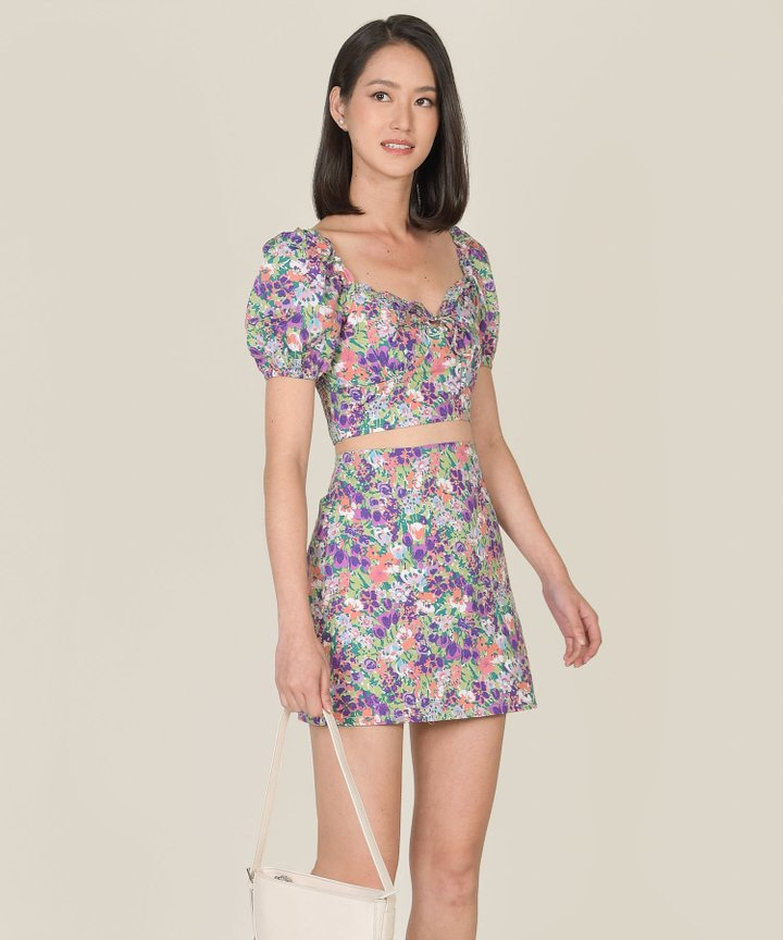 Valentine Floral Top and Skirt Co-ord - Purple