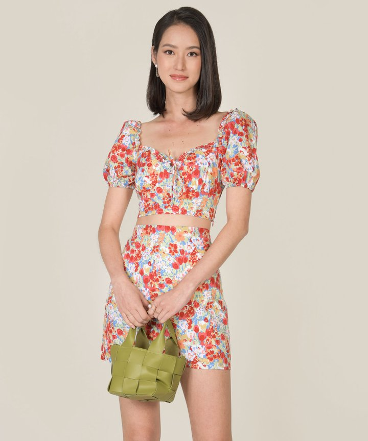 Valentine Floral Top and Skirt Co-ord - Red