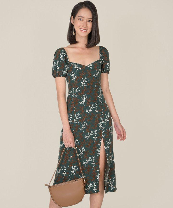 Verona Floral Slit Midi Dress - Forest Green