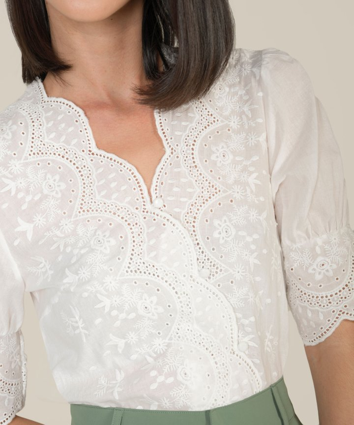 Visalia Embroidered Wrap Blouse (Backorder)