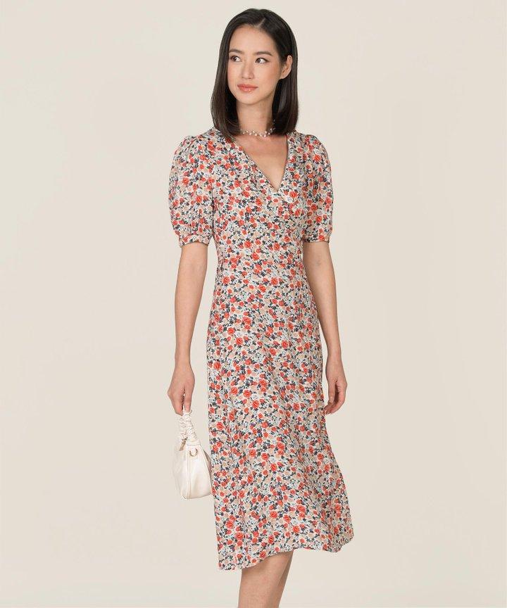 Asti Floral Surplice Midi Dress
