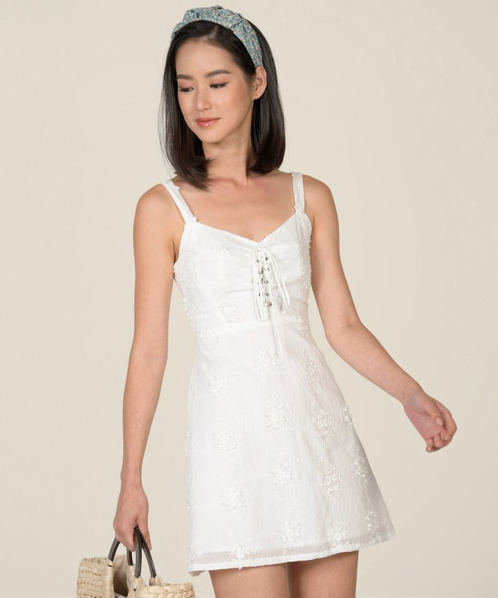 Blanca Embroidered Lace-Up Dress