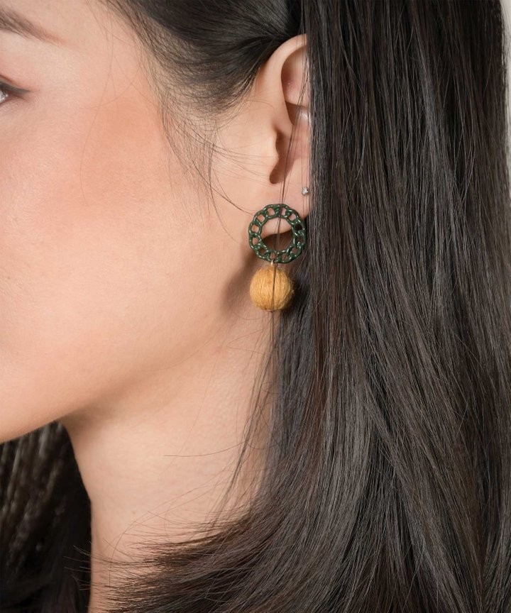 Breton Chain Drop Earrings - Ochre