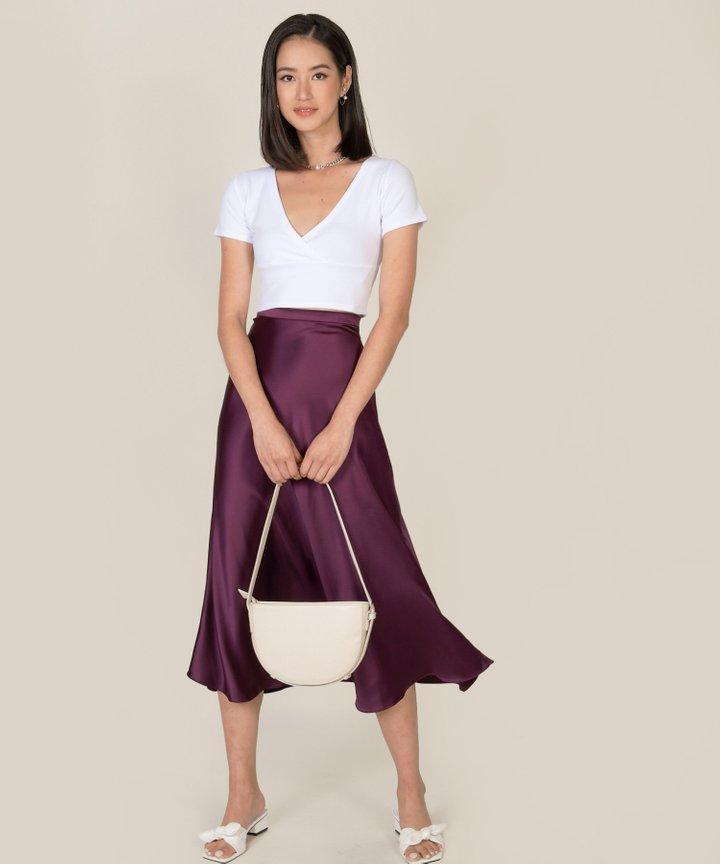 Cameo Satin Midi Skirt
