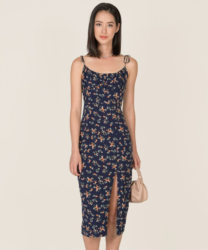 Cassina Floral Ruched Midi Dress - Navy