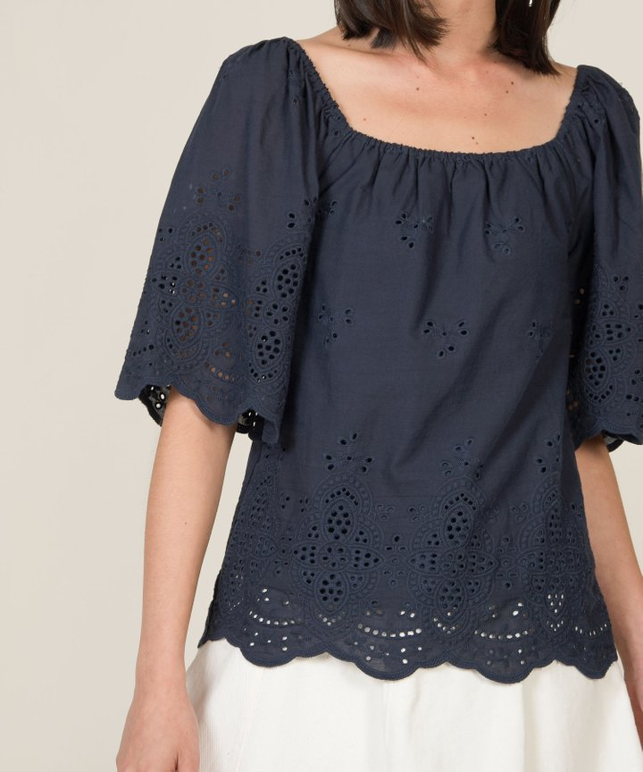 Cordelia Eyelet Blouse - Midnight Blue