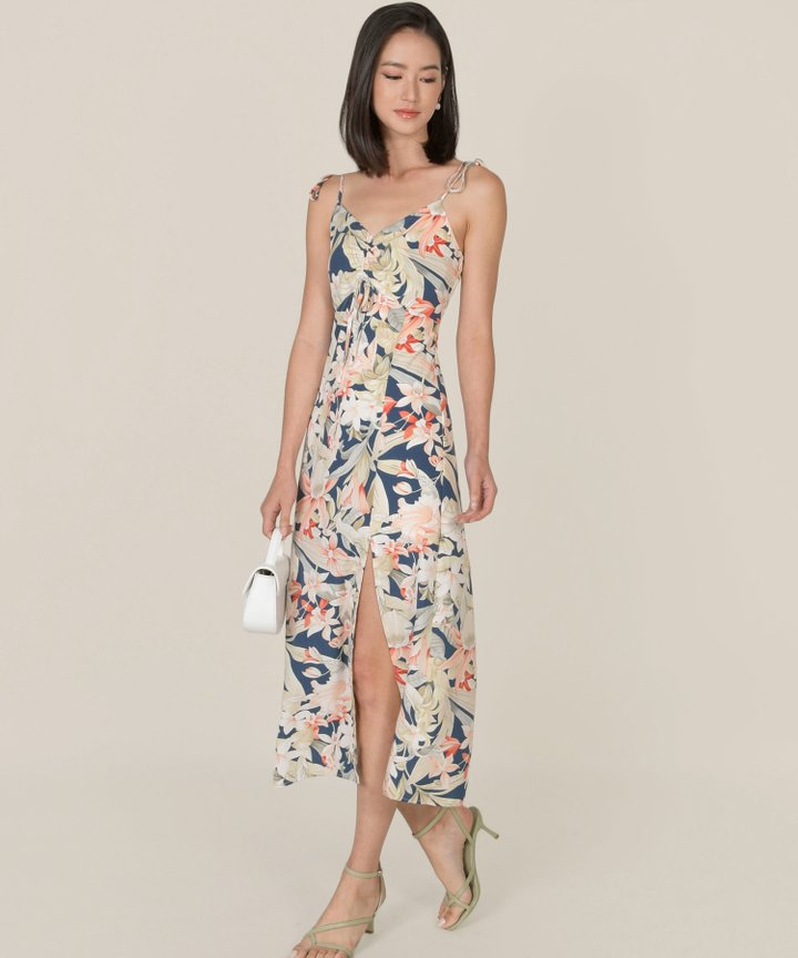 Fosette Floral Slit Maxi Dress - Navy (Backorder)
