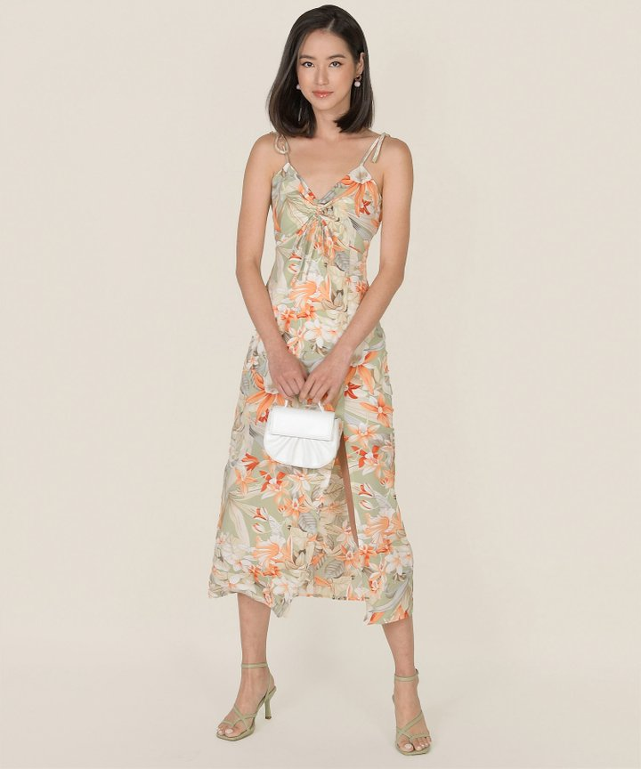 Fosette Floral Slit Maxi Dress - Sage (Backorder)