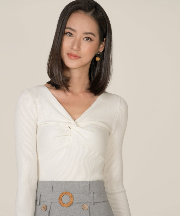 Hatia Knit Knot Top - White (Backorder)
