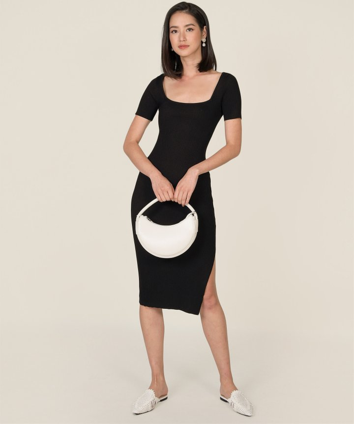 Madison Ribbed Knit Bodycon Midi Dress - Black (Backorder)
