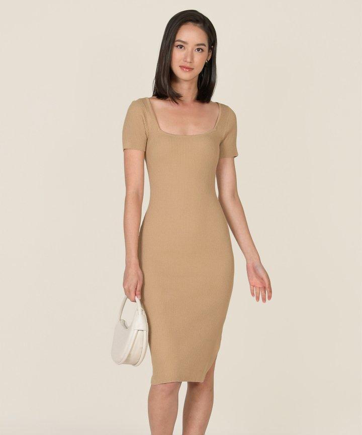 Madison Ribbed Knit Bodycon Midi Dress - Cappuccino (Backorder)