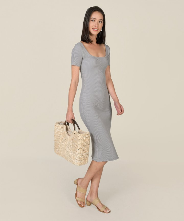 Madison Ribbed Knit Bodycon Midi Dress - Pebble