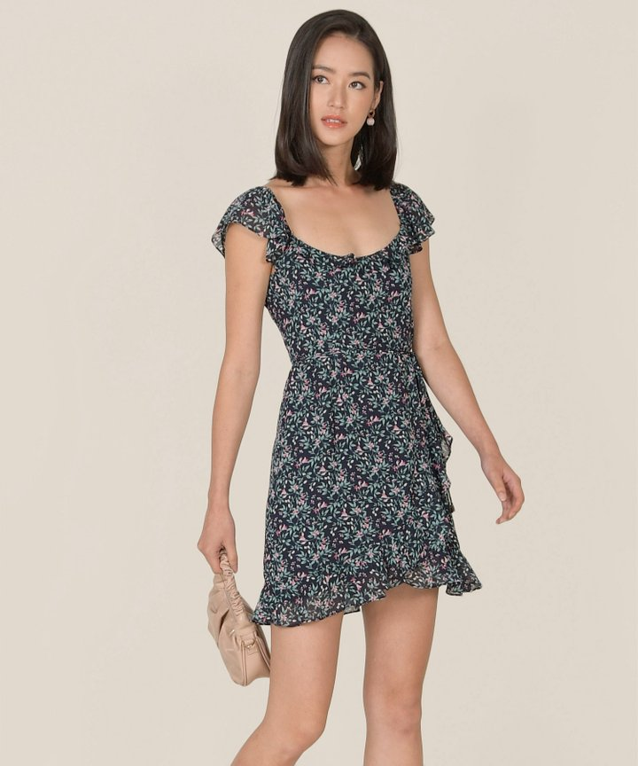 Maxime Floral Ruffle Dress - Midnight Blue (Backorder)
