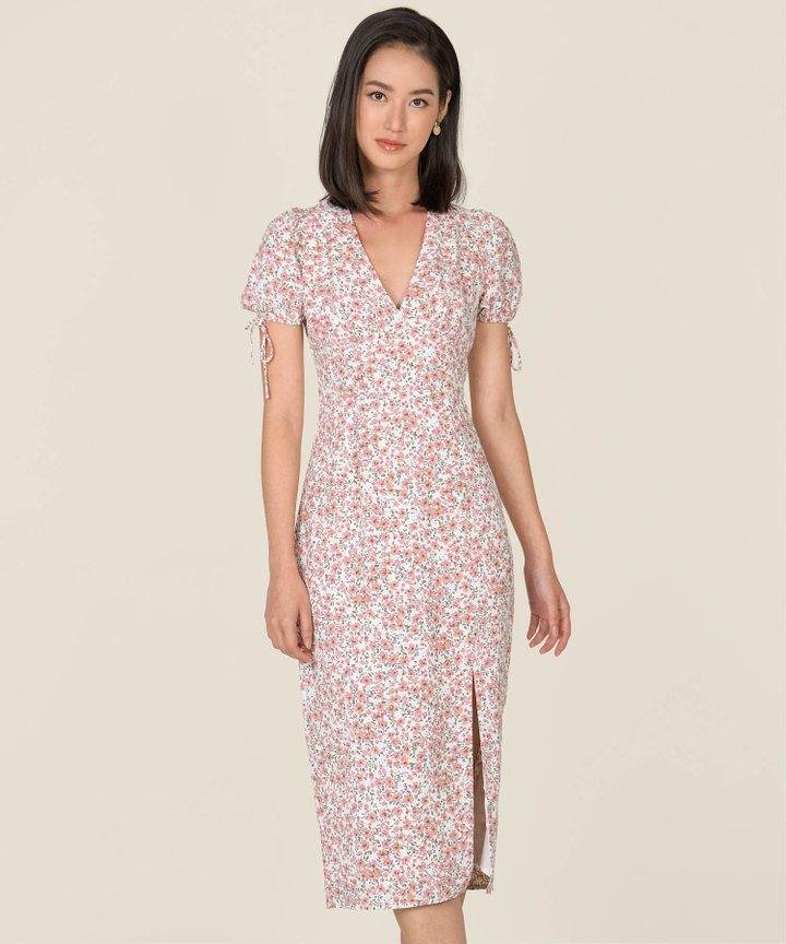 Reinette Floral Slit Midi Dress - Pink