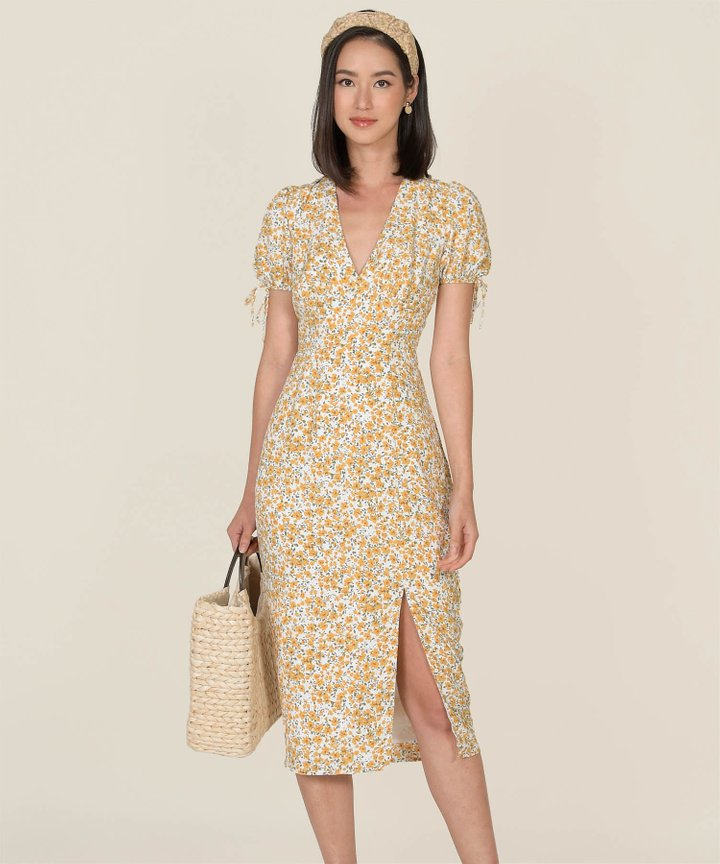 Reinette Floral Slit Midi Dress - Yellow (Backorder)