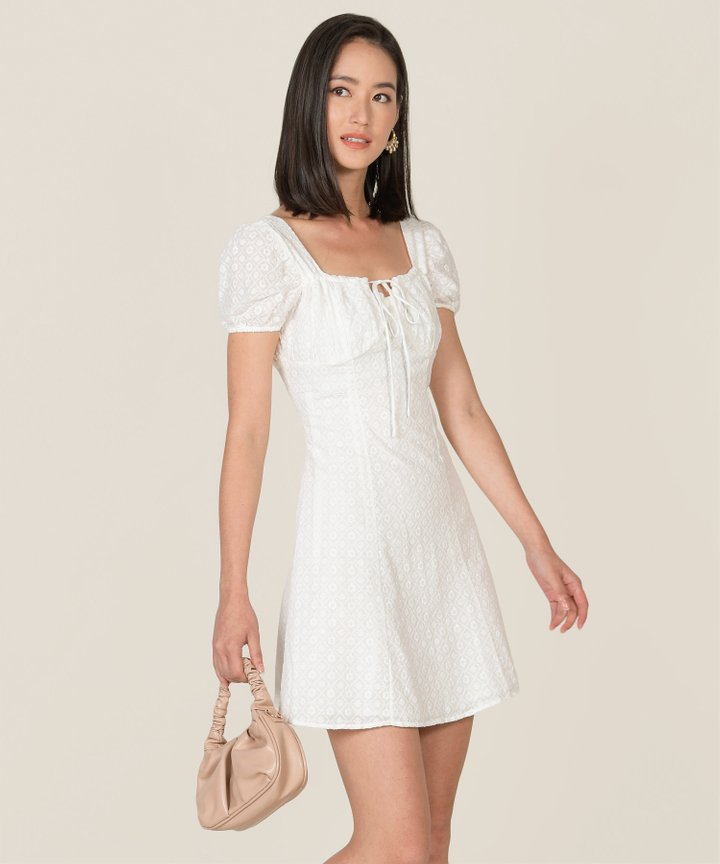 Sicily Broderie Ruched Dress