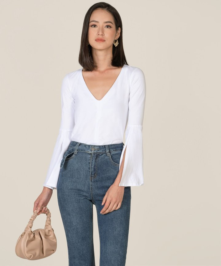 Valence Trumpet Sleeve Blouse - White