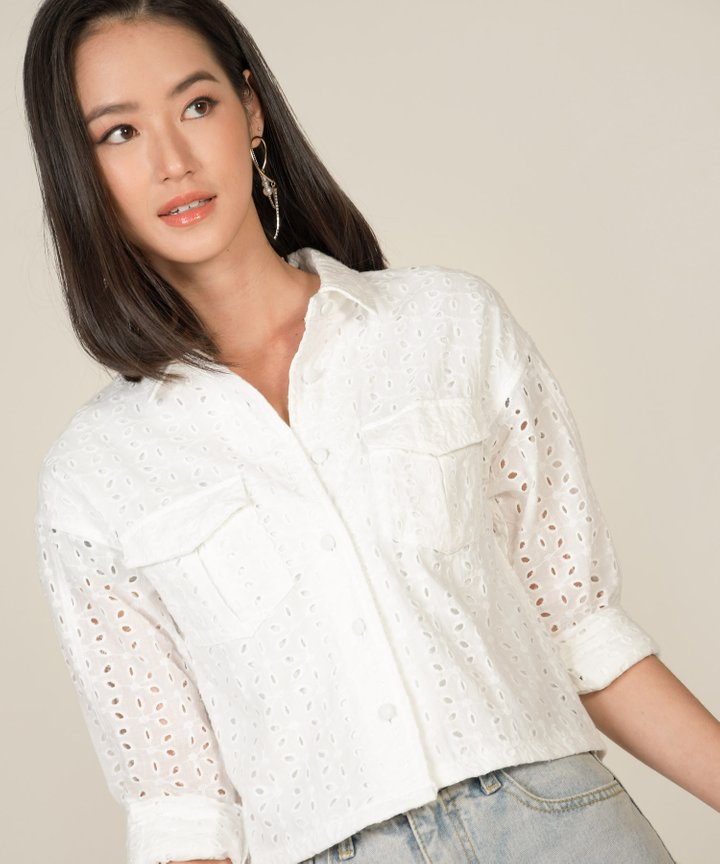 Vianna Eyelet Cropped Jacket - White