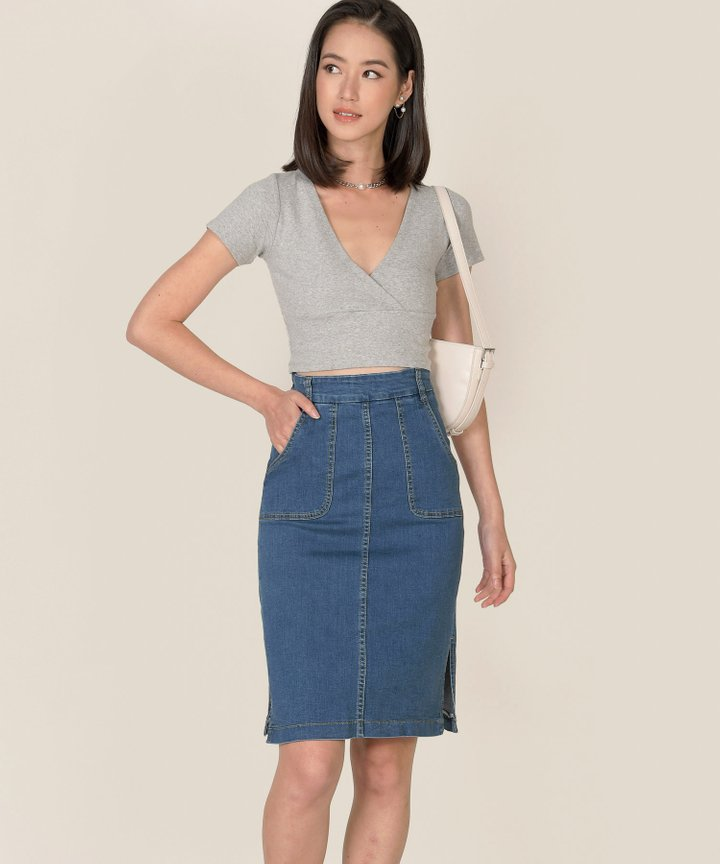 Vienne Surplice Cropped Top - Heather Grey