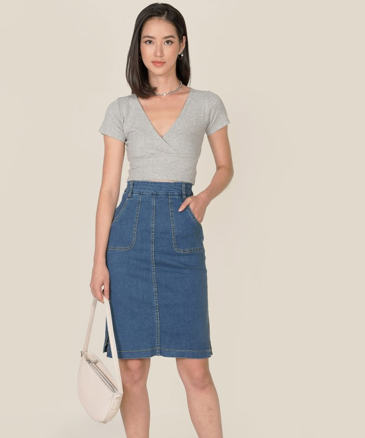 Afar Denim Midi Skirt - Medium Blue