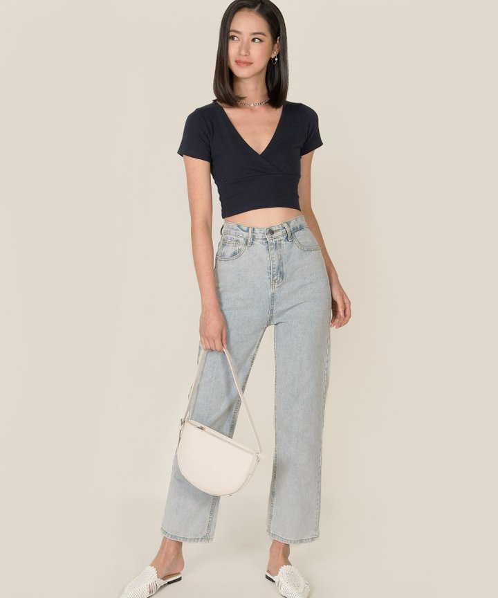 Vienne Surplice Cropped Top - Midnight Blue