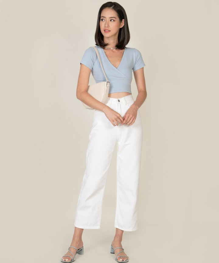 Vienne Surplice Cropped Top - Mist Blue